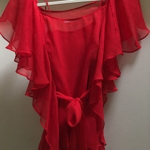 Diane Von Furstenberg Tops - Diane von Furstenberg red silk two piece top sz 2